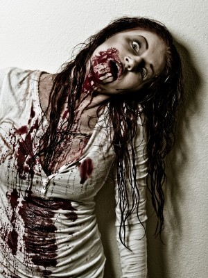 Zombie with blood on shirt